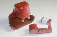 Leather Case Bag Cover For Olympus OM-D OMD E-M10 EM10 Camera Dark Brown