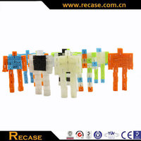 Cube man transparent and solid color plastic customizing transforming toy