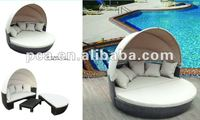 Outdoor wicker round sofa bed with tent