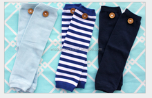 New wholesale 100% cotton stripe baby Leg Warmers with button