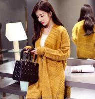 2015 In-Stock High Quality yellow women sweater coats ladies long coats