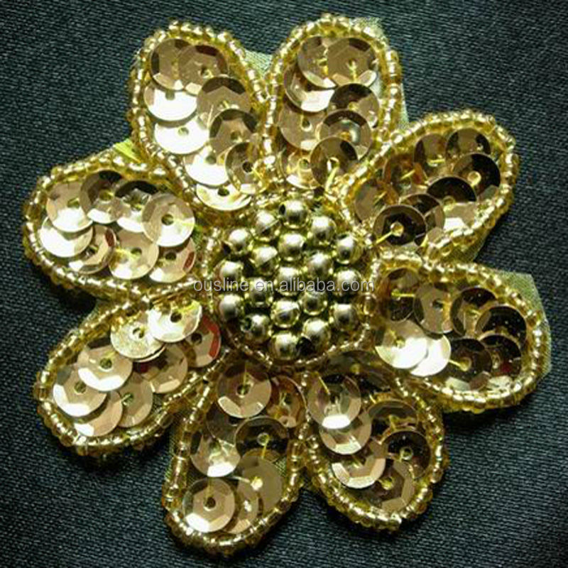 Sequin embroidery design flower handmade applique beaded