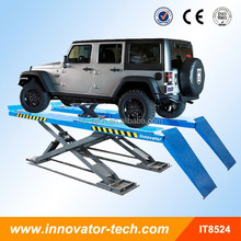 Low profile on ground launch car lift