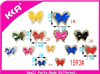 Bow shape very colorful organza made small shoe buckles