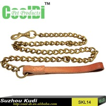 Cowhide lead hand pulling leash dog copper chain