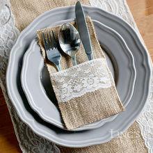 21x10cm Natural Hessian Burlap Jute Cutlery Pocket Holders Knife and Fork Bag Wedding Favor Party Decoration