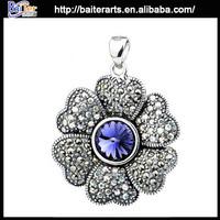 Custom wholesale vintage 925 sterling silver flower pendants from india