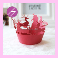 Christmas tree and deer decoration laser cut cupcake wrappers wholesale DG-14