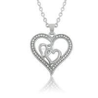 Nickle Free Lead Free Magnetic Clear Crystal Elegant Heart Necklace Silver Pendant