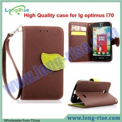 Lichee Pattern Leaf Magnetic Wallet Leather Cell Phone Protective Case for LG Optimus L70 Flip Cover Case with Strap