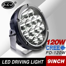 New design IP68 9 inch round 120w 4x4 auto car led driving lights