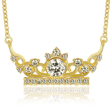 Alibaba cutom high quality jewelry AAA zorcon gold crown princess necklace gift for girl