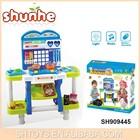 Bateria operado brincar de casinha conjunto cozinhar música& luz mini plástico de cozinha conjunto de brinquedo