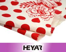 50*50 144*80 57/58 Woven 100% Cotton White&Red Flower Polka-dot Design Custom Printed Poplin Fabrics for Dress Shirt Garments