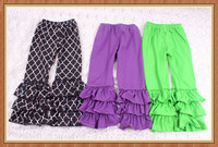 Cute children stripe jogger pants with soft knit ruffles baby icing ruffle pants triple ruffle pants the 100 top brands