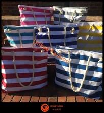 STOCKS BLUE & WHITE ROPE HANDLES FASHION SHOPPING BAG/FLIGHT/ BEACH BAG / HOLIDAYS/bolsa de galon saco
