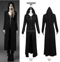 Punk rave goth long black witches cardigan shirt leopard hooded Coat Steampunk fancy coat ladies guangzhou factory manufacture