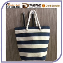 Custom Canvas Durable Shopping Bag Cheap Wholesale Stripe Promotional Cotton Tote Handbag Beach Bag