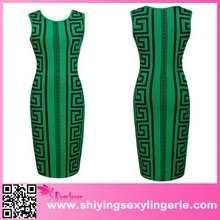 Sexy Wholesale Elegant Green Pencil Bodycon Geometric Print Dress vestidos de fiesta