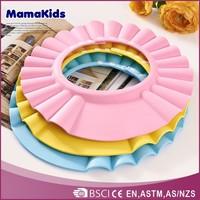 Tearless shampoo shield hat soft rubber shower cap for children