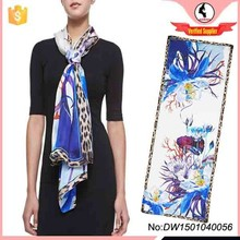 2015 hot sale new trend digital print custom design silk scarf