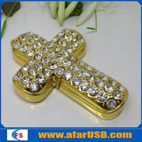 Gold& jewelry cross usb drive 16GB,Hot usb flash disk, USB memory 16GB