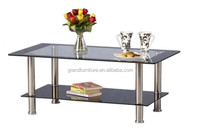Simple style hot glass stainless steel coffee table with black border