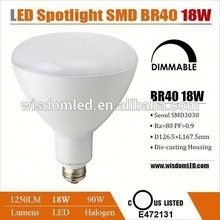 Listed par br 40 18w led lamp 3 years warranty