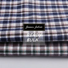 James pure Cotton Tencel Casual Shirting Fabric, 2 side brushing Flannel Check/Plaid Twill Fabric