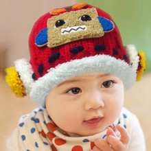 Children Funny Winter Knitted Earflap Hats with Carton Robot Label