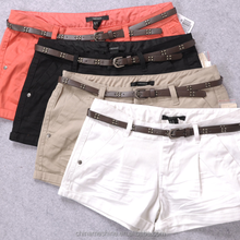 MS70008L Newly arrived women cusual style pure color cotton shorts with belt