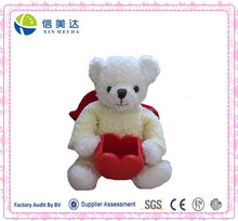 Super Cute and Pure White Angel Bear Toy with Red Wings Pen Container