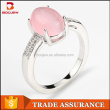 Simple designs style best friends promise female pink color zircon gold finger ring
