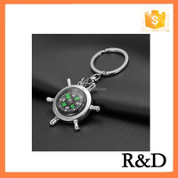 Wholesale Cheap Price Metal Sailing Rudder Compass Keychain Keyring Keytag Key Chain Ring Tag Finder Holder
