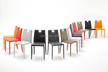 2015 reclining colorful pu leather chrome legs dining chair