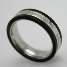 Fashion cool black men ring 316l hong kong synthetic stone jewelry