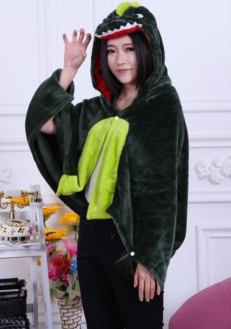 Зимние новые милые животные мантии зеленый динозавр фланель плащ дамы теплой мантии унисекс для ленивый человек