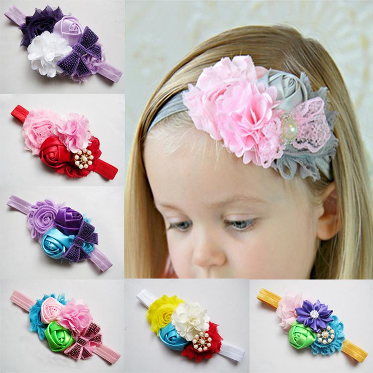 Patrón de flores de color rosa vendas del pelo 3 estilo niñas accesorios para el cabello