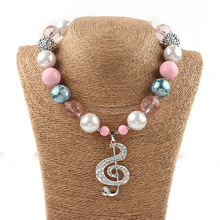 fashion jewelry children necklace best selling summer colors plastic kids bead fashion chunky necklace music pendant