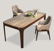 Modern Simple Design Heated Dining Room Furniture Marble Top Wood Dining Table Set