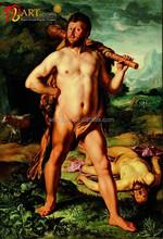 Modern art realist nude man body painting