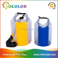 2015 fashion waterproof dry bag with strap in 190T nylon coated fabric for swimsuit