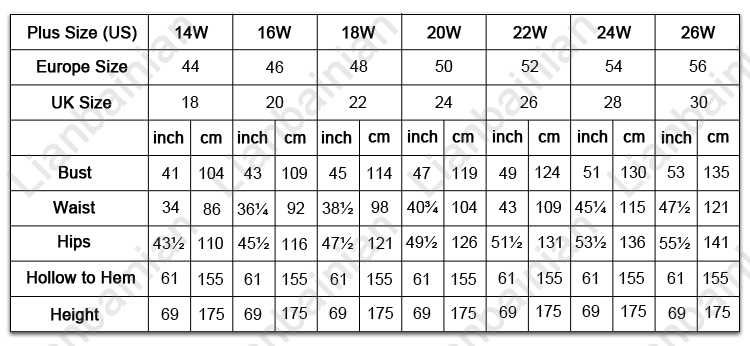 Wedding amazing dress: Romantica wedding dress size chart