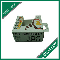 ACCEPT CUSTOM ORDER RCEYCLED FANCY COLORED BOXES FOR PACKING FOOD WITH HANDLE