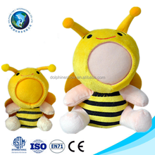 2016 New product customized 3d face with plush toy cute yellow plush bee 3d photo face soft toy