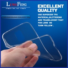 0.3mm ultra thin clear tpu cell phone case for samsung galaxy s5