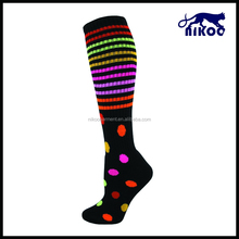 rainbow stripes and the red spots all over on the black sport socks can be thicken