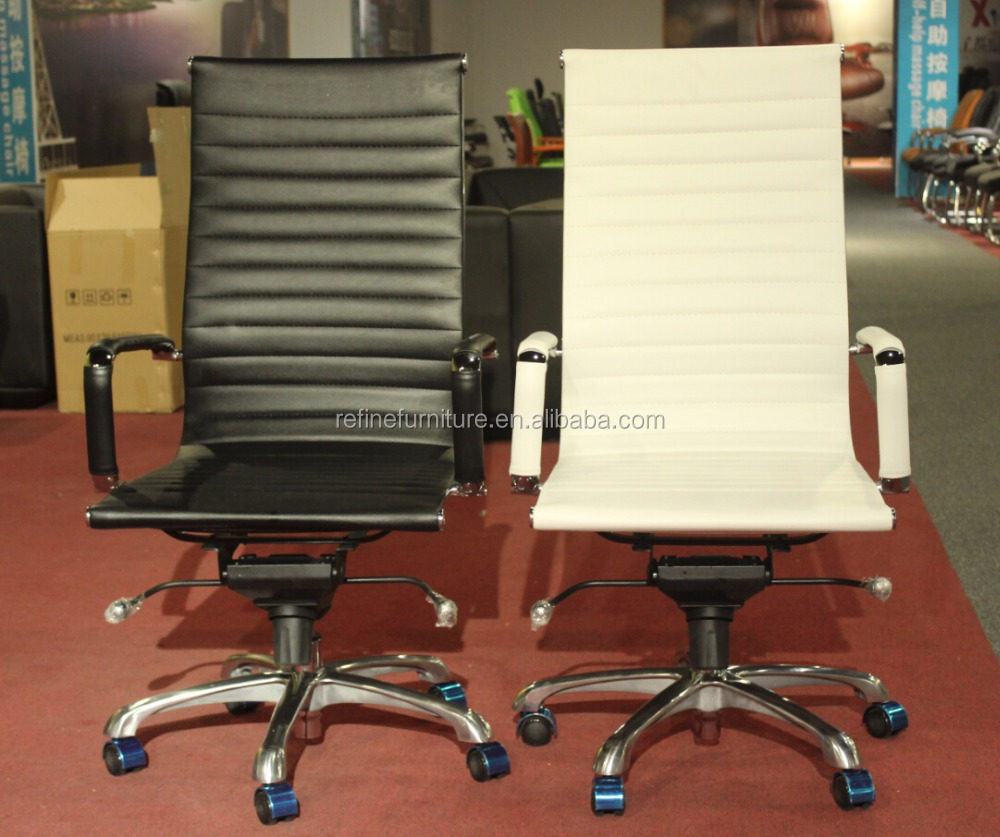 low back modern brown leather chrome arms leather office chair
