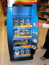 pos cardboard floor display stand with wheel for promotion