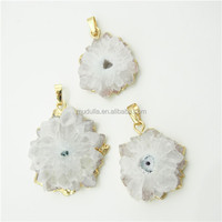 DP174 Natural Solar Quartz Stalactite Druzy Slice Pendant. Drilled with a hole with Electroplated Gold Edge